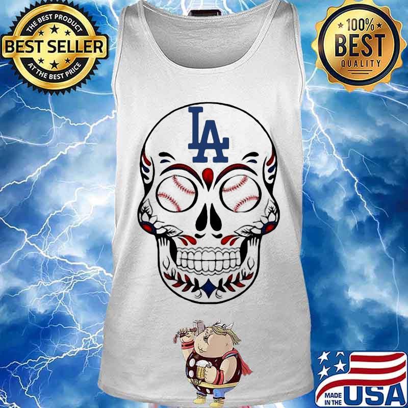 Skull Los Angeles LA Dodgers Logo Baseball Shirt Tank top
