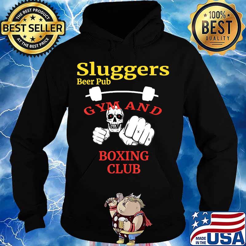 Sluggers Beer Pub Gym And Boxing Club Skull Shirt Hoodie