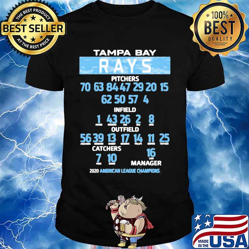 Tampa bay rays pitchers infield outfield catches manager 2020 american league champions shirt