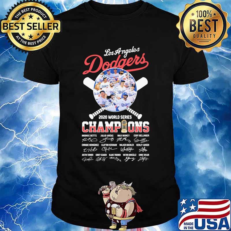 World series 2020 champions los angeles dodgers baseball signatures shirt