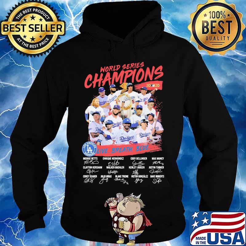 World series champions los angeles dodgers live breath blue signatures s Hoodie