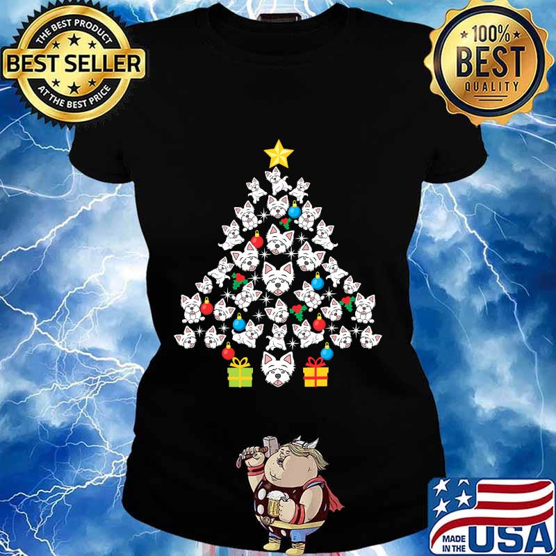 Westie christmas tree funny dog lover holidays s Ladies tee