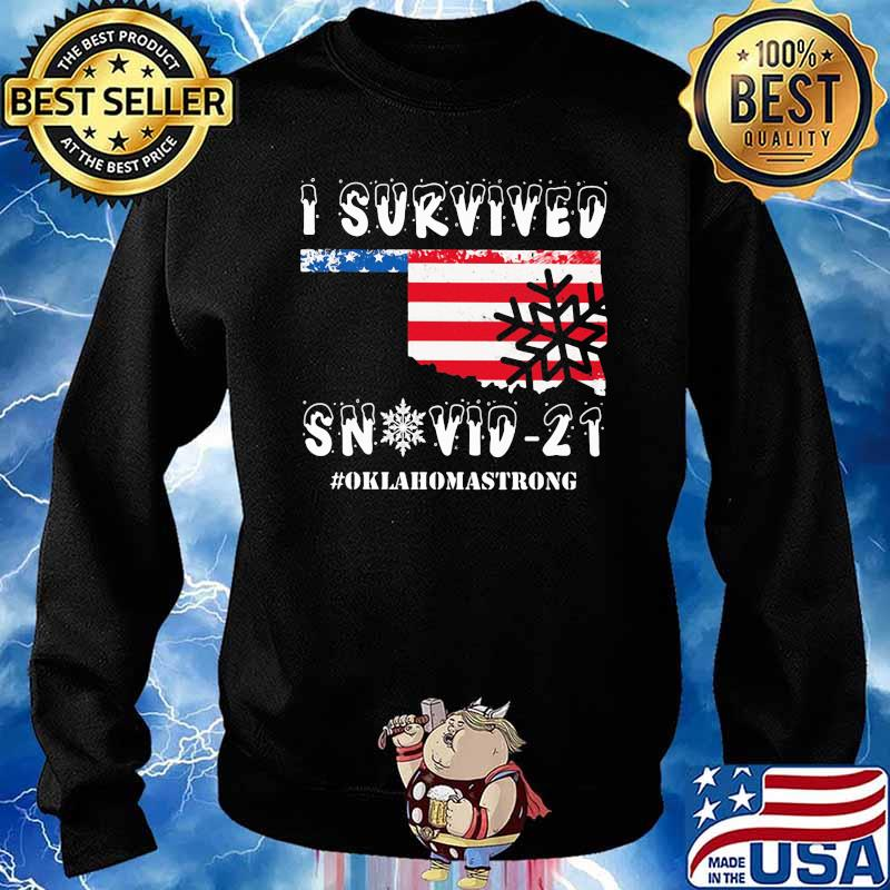 I Survived Snovid 21 Oklahoma Strong American Flag Shirt Sweater