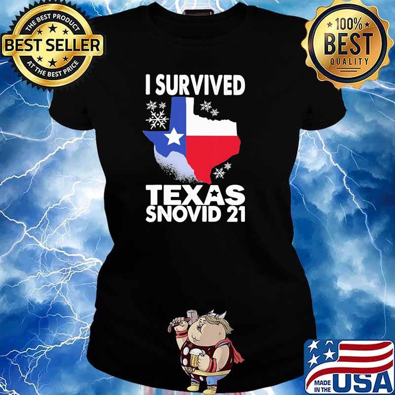 I Survived Texas Snovid 21 Covid 19 Flag Shirt Ladies tee