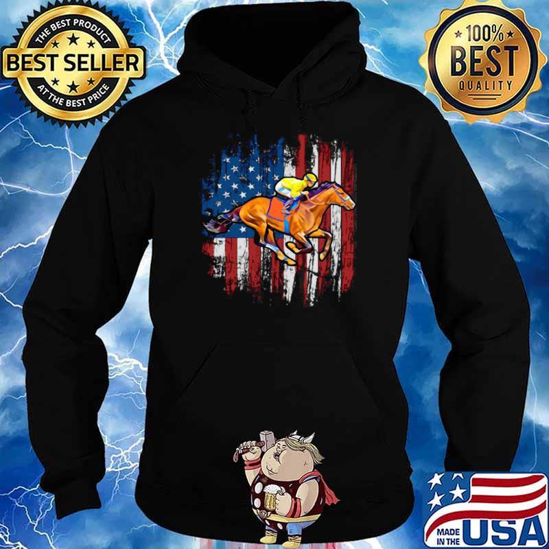 American Flag Horse Racing shirt - Copy Hoodie