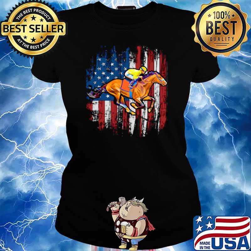 American Flag Horse Racing shirt - Copy Ladies tee