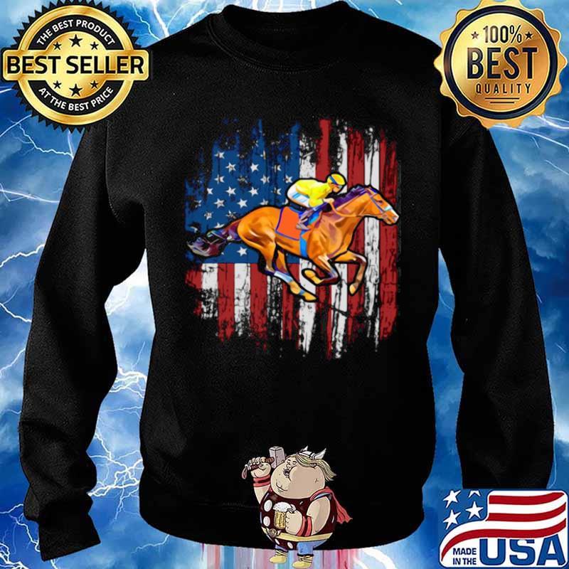 American Flag Horse Racing shirt - Copy Sweater