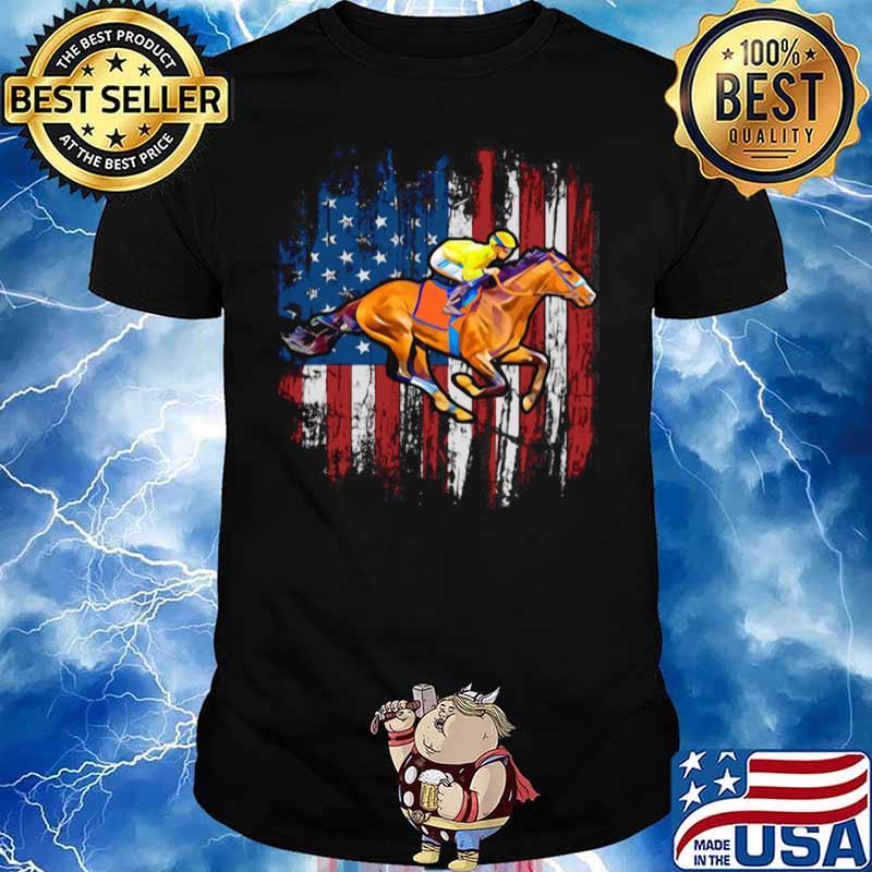 American Flag Horse Racing shirt - Copy