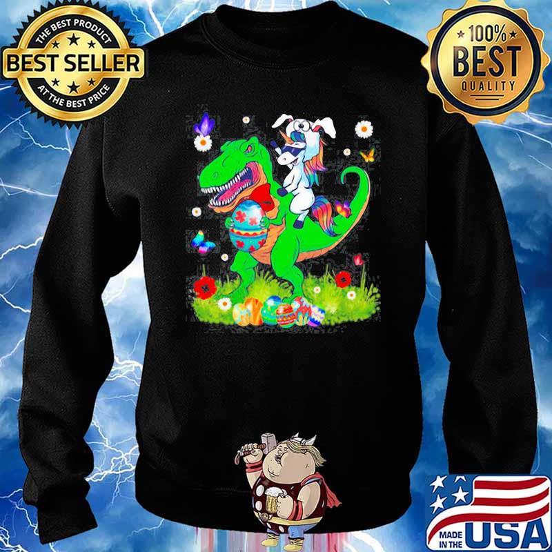 Unicorn Riding Dinosaur Happy Easterawr Eggs s Sweater
