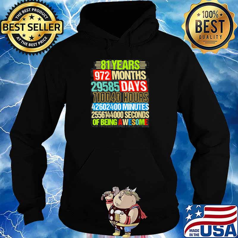 Womens 81st Birthday Countdown 81 Yrs Old Being Awesome s Hoodie