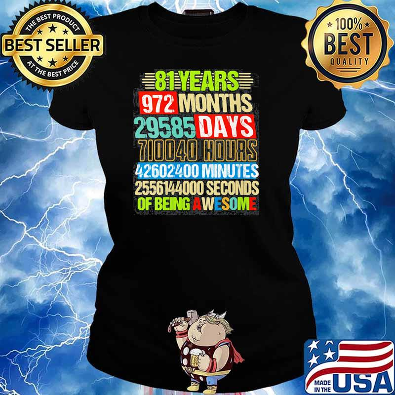 Womens 81st Birthday Countdown 81 Yrs Old Being Awesome s Ladies tee