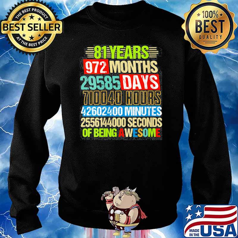Womens 81st Birthday Countdown 81 Yrs Old Being Awesome s Sweater