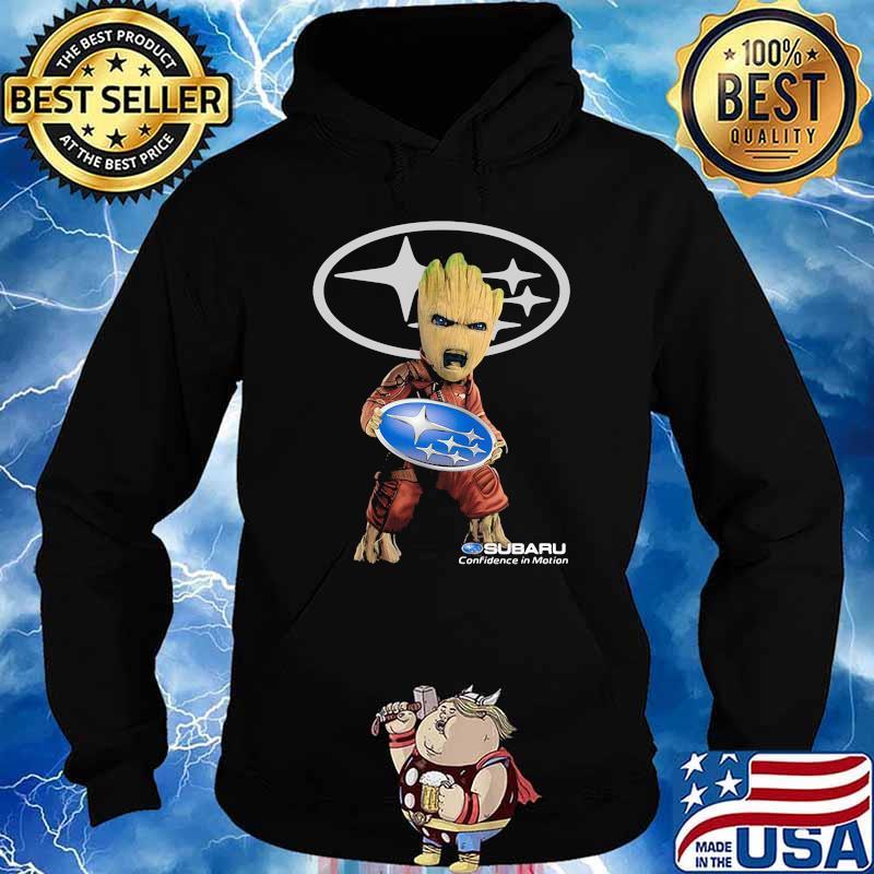 Groot Holding Subaru Confidence In Motion Logo Shirt Hoodie