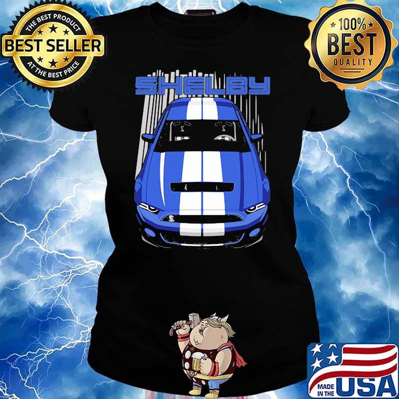 Mustang Shelby Gt500 S197 Blue And White Shirt Ladies tee