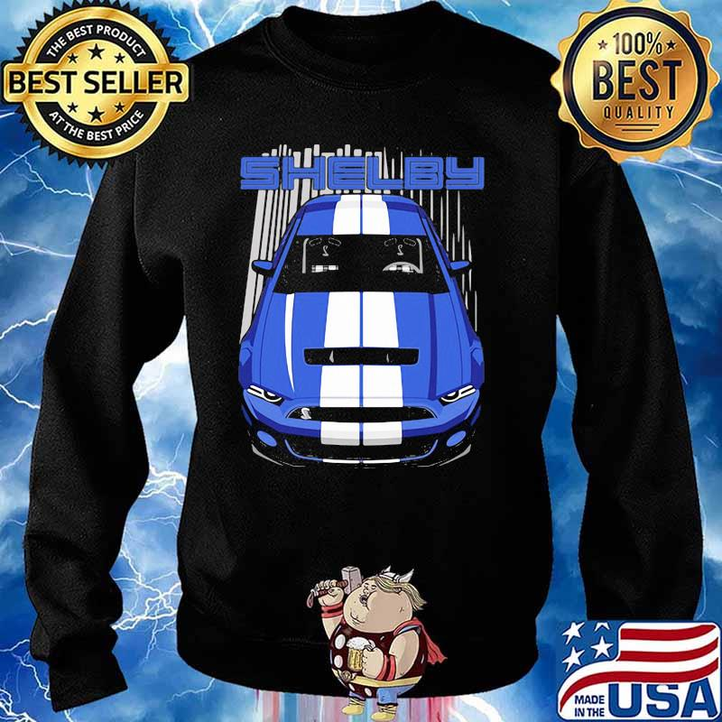 Mustang Shelby Gt500 S197 Blue And White Shirt Sweater