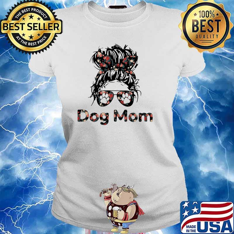 Official Dog Mom Flower Shirt Ladies tee