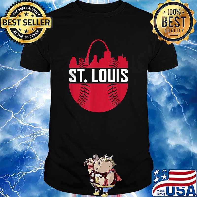 St. Louis Baseball STL Skyline Novelty Cardinal Red Ball Shirt