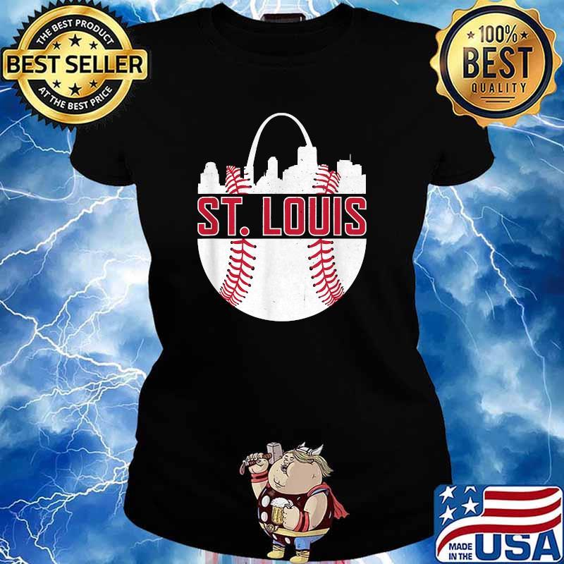 St. Louis Baseball STL Skyline Novelty Cardinal Shirt Ladies tee