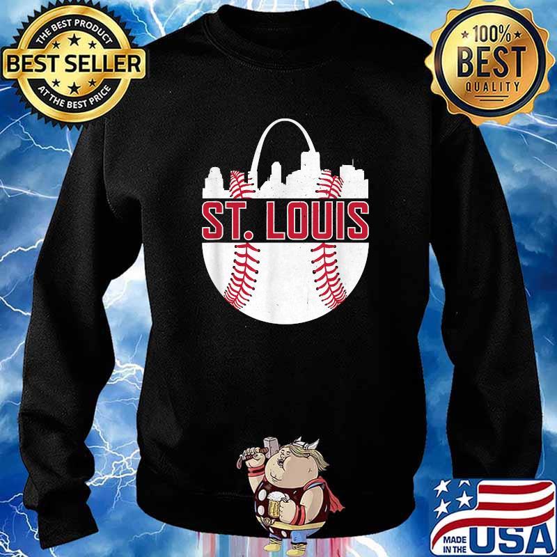 St. Louis Baseball STL Skyline Novelty Cardinal Shirt Sweater