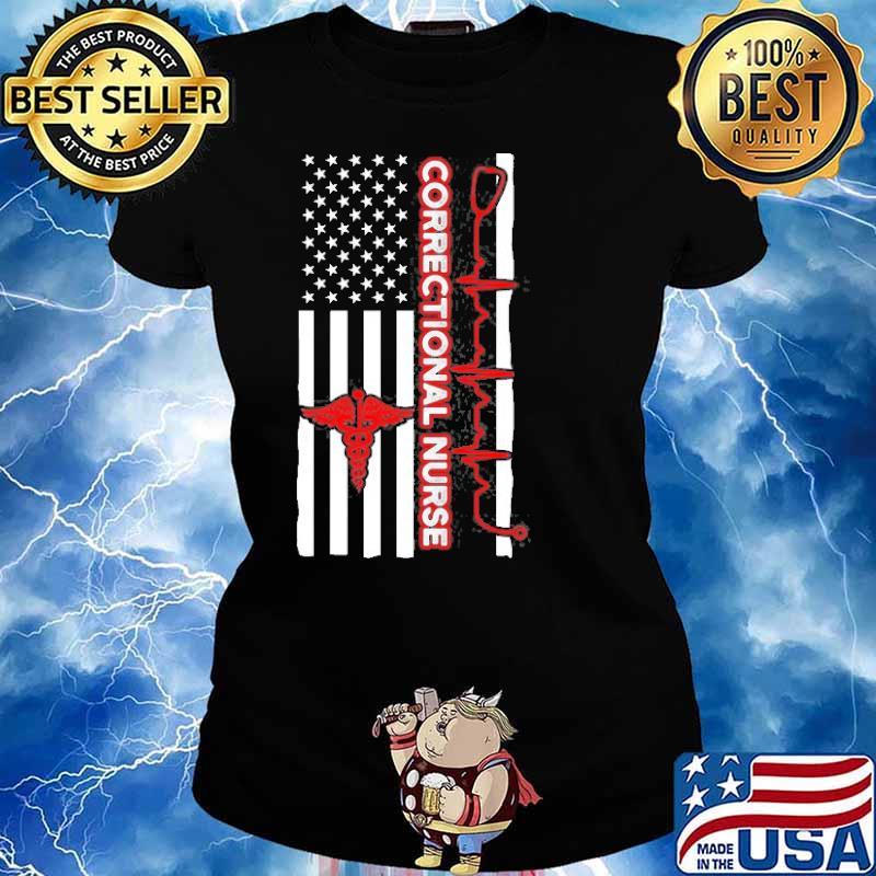 Correctional Nurse Usa Flag Shirt Ladies tee