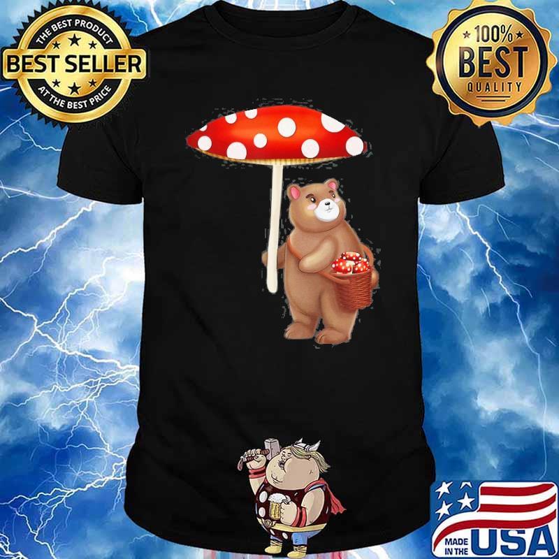 Cottagecore Aesthetic Foraging Bear With Mushroom Umbrella Shirt