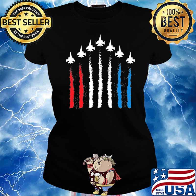 Fighter Jets Red White Blue 4Th July American Flag Shirt Ladies tee
