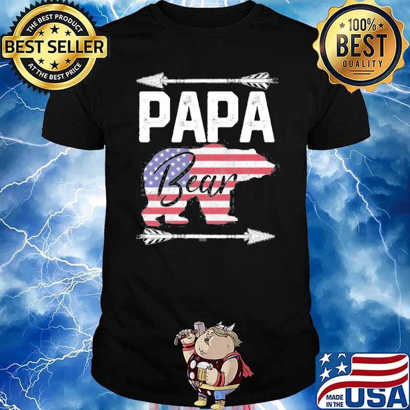 Papa Bear Dad Grandpa Usa Flag July 4Th Father's Day Shirt