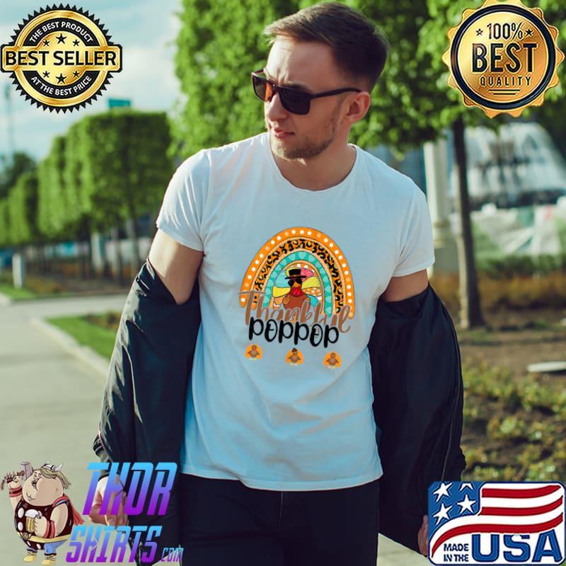 Thankful Poppop Leopard Rainbow Turkey Thanksgiving T-shirt