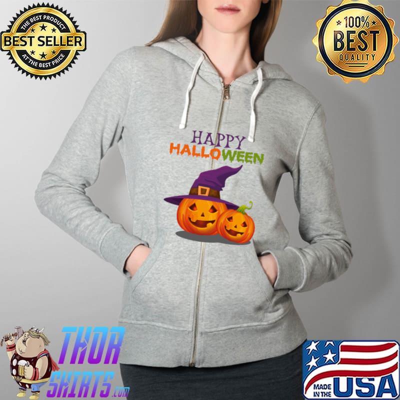 Witch Jack O Lantern T-Shirt Full Zip Hooded